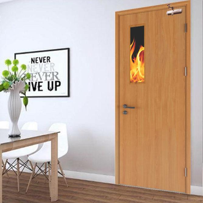 Cửa gỗ chống cháy GCC-P1G có tiêu chuẩn về phòng cháy chữa cháy.