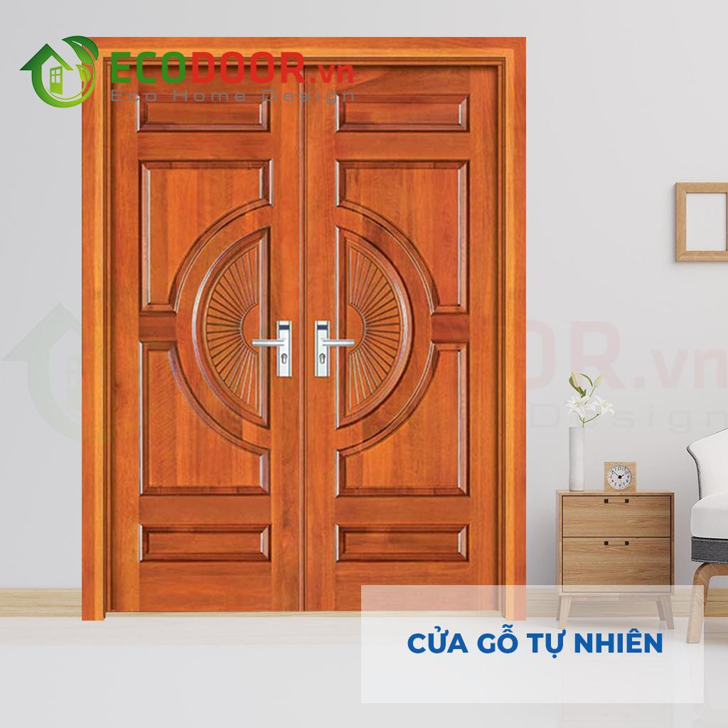 Cửa phòng ngủ cách âm làm bằng gỗ tự nhiên 2 cánh